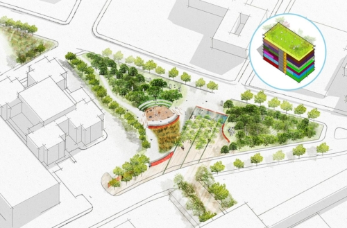 Center for Equity - distributed equity - aerial axonometric